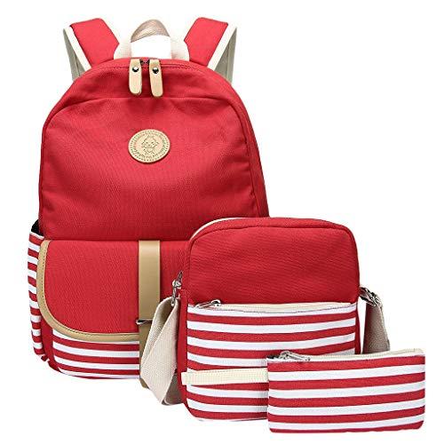 Clearance Mädchen Kostüm - GKOKOD-Backpack 2019 3PC Damen Mädchen Rucksack Segeltuch Laptop Gestreift Handtasche Schulter Rucksack Geldbörse Taschen, Rucksack Mädchen Kindergarten