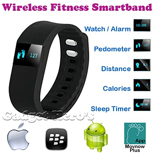 Gadget Hero's Wireless Fitness, Activity & Sleep Tracker Wristband With Android Blackberry & Apple IOS App. FitBit Style Smart Band