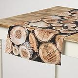 Schöner Leben Tischläufer Holz Holzstämme braun 40x160cm
