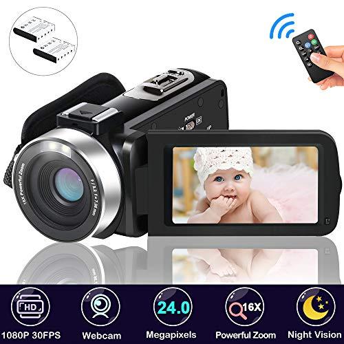 Camcorder Videokamera, FAERSI Full HD 1080P 30FPS 24MP IR Nachtsicht Digital Camcorder, 16X Digitalzoom 3,0 Zoll LCD Bildschirm mit 270 Grad Drehung YouTube Videokamera mit Fernbedienung(2 Batterien)