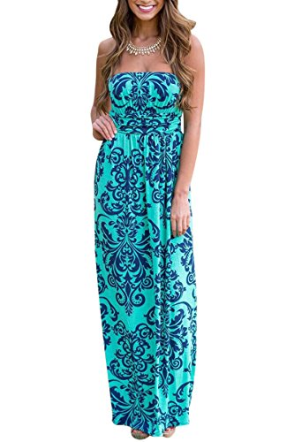 YMING Damen Sommer Kleid Casual Trägerlos Maxikleid Blumenkleid Maxi Langes Kleid,Blau,S / DE 36-38 (Crêpe-faltenrock)