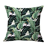 WINOMO Fodera per cuscino Copricuscino in cotone per divano con stampa di foglie di 45 x 45cm