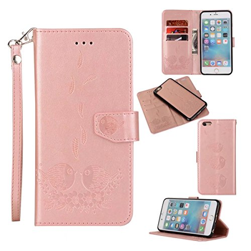 Embossing Bird Pattern PU Ledertasche mit abnehmbarem Back Cover, Flip Stand Wllet Tasche mit Lanyard & Card Slots für iPhone 6 Plus & 6s Plus ( Color : Rosegold ) Rosegold