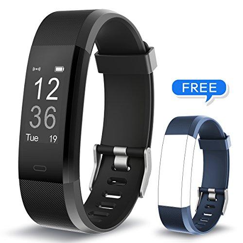 Muzili Fitness Armband YG3 Plus Fitness Tracker Sport Uhr Aktivitätstracker Schrittzähler mit Herzfrequenz Monitor/Kalorien Zähler/Schlafmonitor / Musik-Steuerung für Andriod und IOS (BK+Blue Strap)