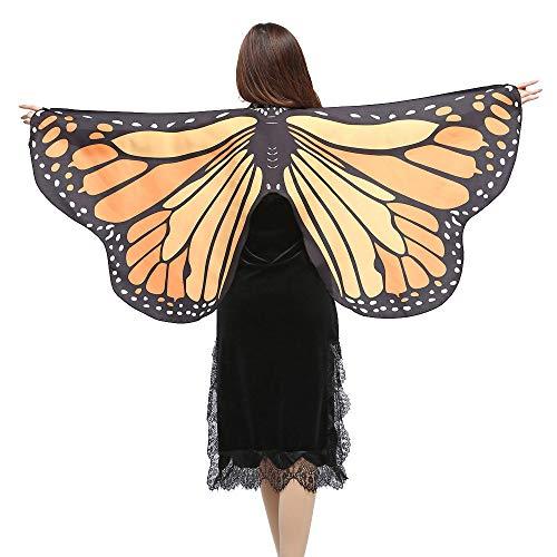 WOZOW Damen Schmetterling Flügel Kostüm Nymphe Pixie Umhang Faschingkostüme Schals Poncho Kostümzubehör Zubehör (hell orange)