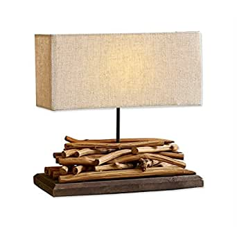 Loberon Tischlampe Caribou, Paulowniaholz/Leinen/Baumwolle, H/B/T ca. 39/40 / 15 cm, braun/leinen, Energieeffizienzklassen A++ bis E