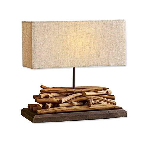Loberon Tischlampe Caribou, Paulowniaholz, Leinen, Baumwolle, H/B/T 39/40 / 15 cm, braun/leinen, E27, max. 60 Watt, A++ bis E - In Antik-braun-tisch-lampe