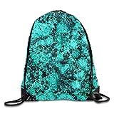 KCOUU Sac à Dos avec Cordon de Serrage pour Sport, Gym, étanche, Grand Sac à Cordons Taille Unique Chic Marble Glitter Turquoise