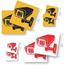 Pack de 8 pegatinas Cámara de vigilancia - Pegatinas de seguridad para interior/exterior -