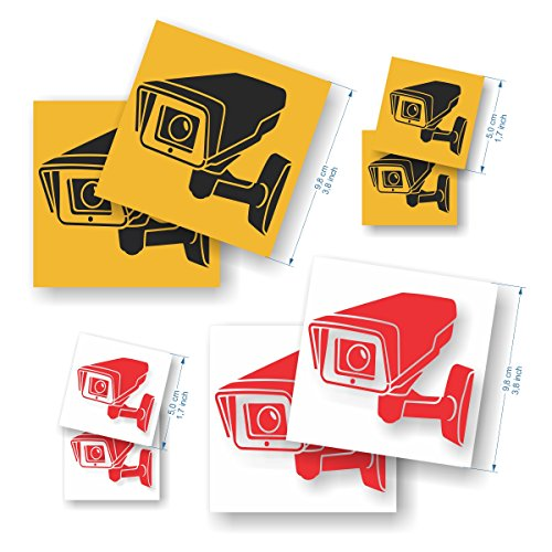 Pack de 8 pegatinas Cámara de vigilancia - Pegatinas de seguridad para interior/exterior - 4 x 9,8 cm + 4 x 5 cm