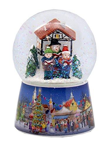 20071 Nostalgie-Schneekugel Weihnachtssinger auf Weihnachtsmarkt Dreh-Spieluhr 10cm Durchmesser