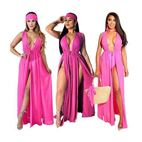Sexy Women V Neck Sleeveless Solid Chiffon High Slit Long Dress with Headband Rose Red G0175H M Jovani Homecoming