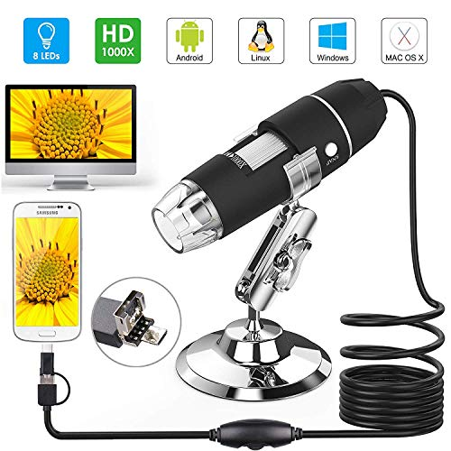 XHtrade Tragbare 1000x 8 LED USB Digital-Mikroskop Vergrößerung mit Stativ, Kamera USBendoscope Inspektion - mit OTG-Kabel für Telefon (Kamera-inspektion)