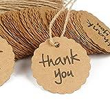 CAOLATOR Hängen Etiketten Geschenk Anhänger Kraftpapier Runde Tag THANK YOU Runde Spitze 100 Stück