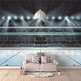 Murales Intissé Terrain de basket Décoration Murale Poster Tableaux Muraux Tapisserie Photo Trompe L'Oeil Fond De Tv - 300cm(W) x210cm(H) - 6 Stripes