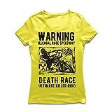 Frauen T-Shirt Todesrennen - ultimative Killerfahrt, Motorradrennen, Klassiker, Vintage, Retro-Schädel-Biker, Motorrad (Medium Gelb Mehrfarben)