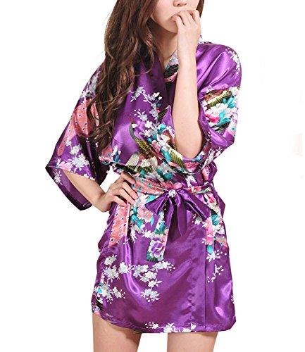 Women Short Kimono Robes Bridesmaid Peacock and Blossoms Stain Silk Nightwear Dark Purple