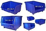 3 Größen Set 60 Stapelboxen Sichtlagerkästen 30xGr.1 20xGr.2 10xGr.3 Lagerboxen