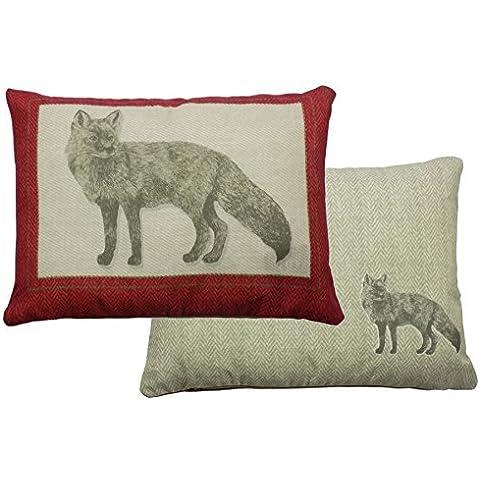 Cojín relleno Herringbone frontera zorro rojo gris 38cm x 28cm