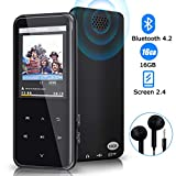 MP3 Player, 16GB Bluetooth MP3 Player with 55 hours playback, Digital Music Music Player with Earphone Support FM Speaker, Expandable Memory up to 128GB