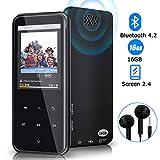 Lettore MP3, lettore MP3 Bluetooth da 16 GB con riproduzione di 55 ore, lettore musicale di musica digitale con altoparlante FM con supporto per auricolari, memoria espandibile fino a 128 GB