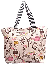 Re-usable Eco Friendly Canvas Material Beach Shopping & Tote Bag Large Capacity. - B0765TDLP3