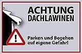 Winter Winterdienst Schild -640s- Achtung Dachlawinen 29,5cm * 20cm * 2mm, mit 4 Eckenbohrungen (3mm) inkl. 4 Schrauben
