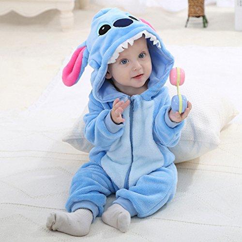 Pyjama Ensemble de Pyjama Dors Bien Enfant B/éb/é Combinaison Hiver Forme Animal D/éguisement Stitch Bleu 19-24mois