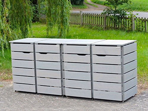 4er Mülltonnenbox / Mülltonnenverkleidung 120 L Holz, Transparent Geölt Grau - 2