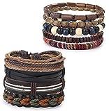 sailimue 9-15PCS Bracelets en Cuir pour Hommes Femmes Tressé Bracelet Corde Wrap à la Main Perles en Bois Manchette Bracelets Réglable