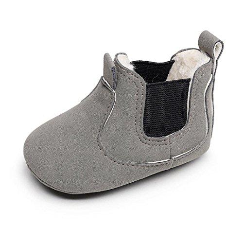 FNKDOR Babystiefel Kleinkind Weiche Sohle Boots Neugeborene Warm Gefüttert Schuhe(6-12 Monate,Grau)