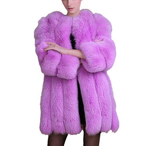 Cappotti invernali per le donne - cappotto di pelliccia sintetica caldo lungo di volpe