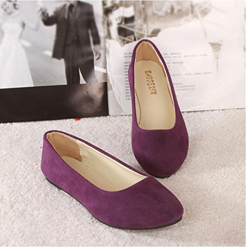 LvYuan Women's Flats / Suede / Office & Karriere / Flat Ferse / Comfort Outdoor Casual Mode / Loafers & Slip-Ons / Gehen faule Schuhe Purple