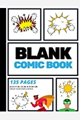Blank Comic Book: Create Your Own Comic Strip, Blank Comic Panels, 135 Pages, Sky Blue (Large, 8.5 x 11 in.): Volume 6 (Action Comics) Paperback