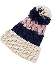 Dosige Color de Invierno Giro torcedura Bola de Pelo Sombrero de Punto Arte  Femenino versátil Orejeras 3a0ddccfb9b
