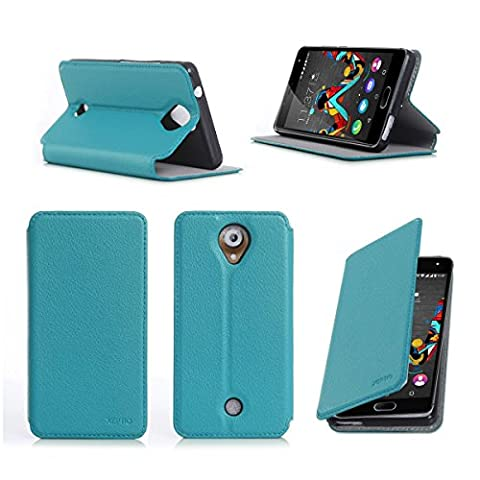 Etui Wiko Ufeel 4G 2016 turquoise luxe Ultra Slim Cuir Style avec stand - Housse Folio Flip Cover coque de protection smartphone Wiko U feel turquoise - Accessoires pochette XEPTIO : Exceptional case !