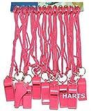 Silbatos deportivos de plástico rosas con cordones de color rosa (12...