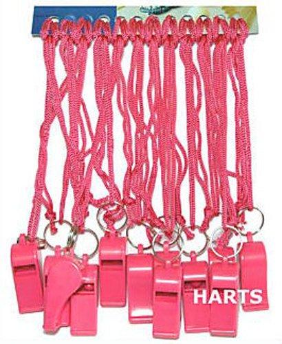 Silbatos deportivos de plástico rosas con cordones de color rosa (12 unidades)