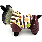 smalllee _ Lucky _ store pequeño perro de mascota gato Ropa Cálido Forro Polar Con Capucha Con Borde de pelo para abrigo acolchado chaqueta Mono impresión flor rayas