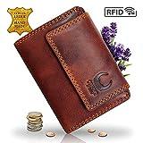 Geldbörse Damen Leder I Geldbeutel mit RFID Schutz I XXL Portemonnaie aus Echtleder I Travel Organizer im Vintagelook I Braun I 13 x 10 x 4 cm I 32018 Corno d'Oro