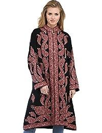 Exotic India Black And Woodrose Long Kashmiri Jacket With Ari Hand-Embro - Black