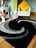 GREY BLACK SILVER NEW MODERN THICK SHAGGY RUGS LARGE SMALL RUNNERS SOFT SHAG PILE RUG (BLACK SILVER GREY, 80 X 150 CM)