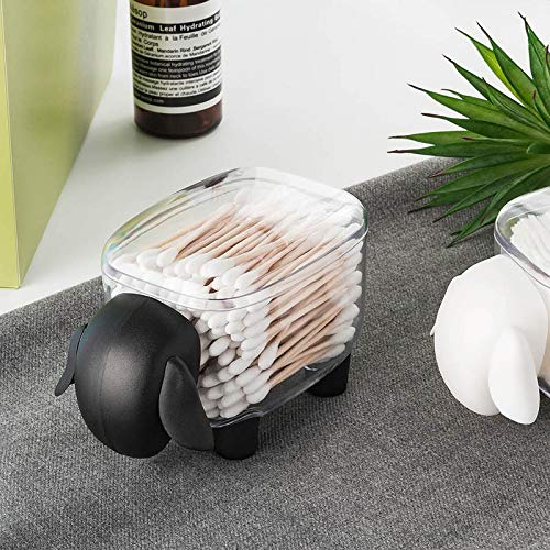 Tianse pecora organizzatore di trucco dei tamponi di cotone, portaoggetti bagno, contenitore multiuso, supporto della cucina del supporto dello stuzzicadenti, plastica trasparente nero