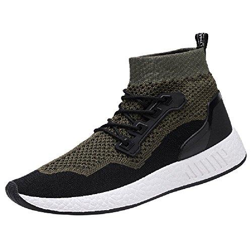 Byste scarpe da uomo tessuto elastico scarpe alte fondo morbido scarpe da corsa scarpe sportive calze scarpe sneaker scarpe piatte scarpe da viaggio in esecuzione (43 eu(44cn), verde)