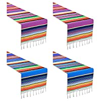 AllGoodWare 4 Packs Mexican Serape Table Runners, Serape Colorful Striped Blanket Table runner for Wedding and Party Decoration