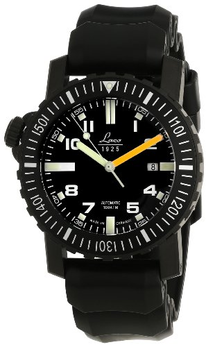 Laco 1925 Men's Automatic Watch with Black Dial Analogue Display and Black Rubber Strap 861703