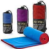 Fit-Flip Blau mit roten Rand, 1x 200x100cm | Handtuch microfaser Sport Handtuch microfaser 200 x 100 Handtuch microfaser schwarz