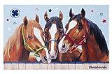 Pferdefreunde Kinderteppich Weich und Soft, in Größe 80x150 cm Rechteck, Farbe Hellblau Öko-Tex zertifiziert Teppich für Kinderzimmer und Jugendzimmer, für alle Pferdeliebhaber