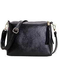 Rrimin Women PU Leather Tassel Leisure Bag Shoulder Crossbody Bag