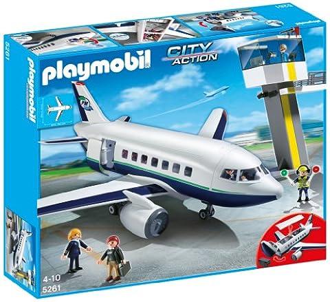 Playmobil - 5261 - Jeu de Construction - Avion et Tour de Contrôle